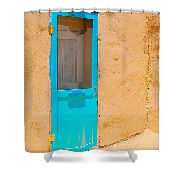 In Through The Blue Door Shower Curtain