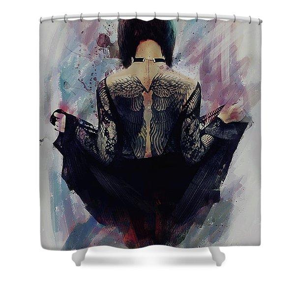 Incite - Dark Angel Shower Curtain