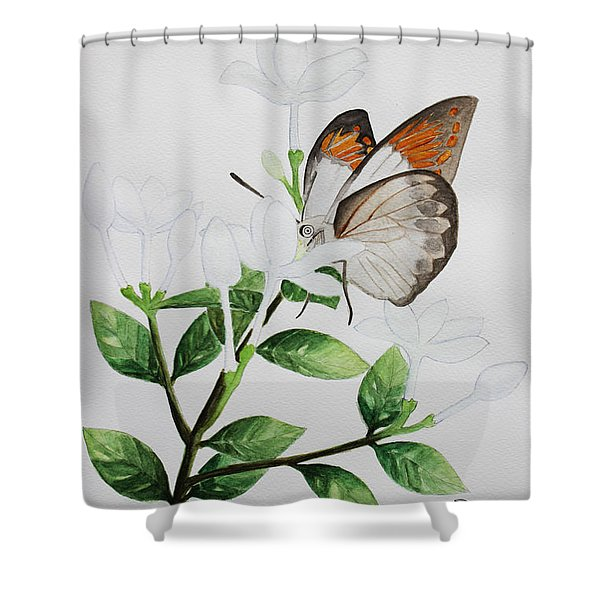 Inda Flower And Butterfly. Shower Curtain
