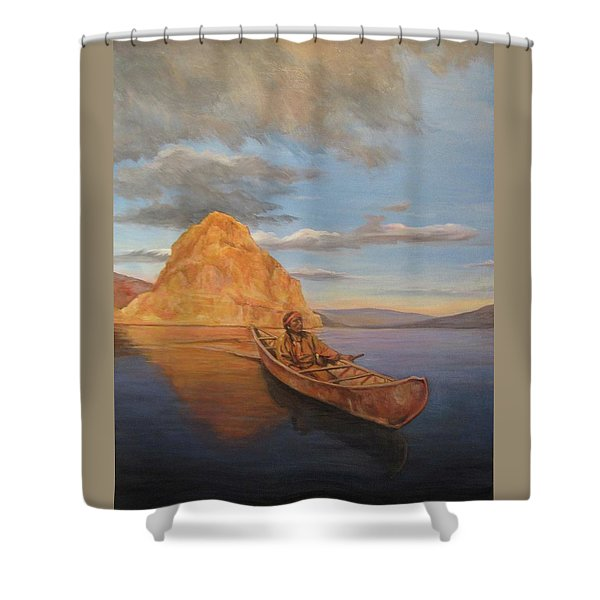 Indian On Lake Pyramid Shower Curtain