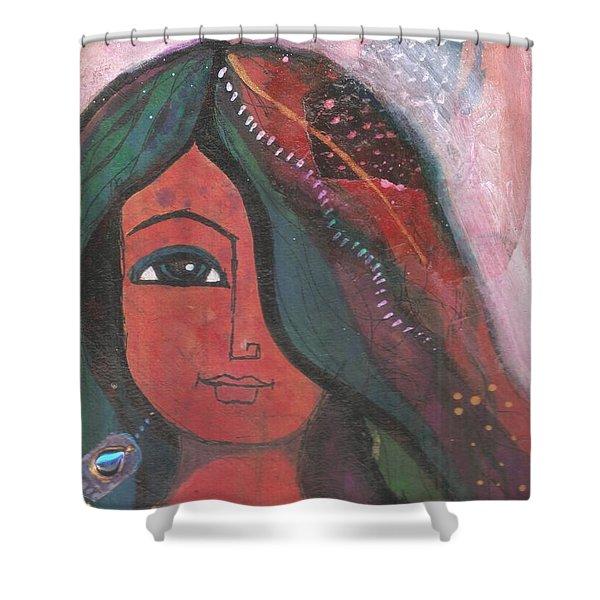 Indian Rajasthani Woman Shower Curtain