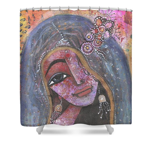 Indian Rajasthani Woman With Colorful Background  Shower Curtain