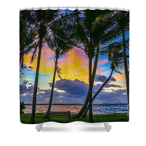 Shower Curtain featuring the photograph Indian River Sunrise by Tom Claud