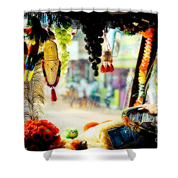 Shower Curtain featuring the photograph Indian Street From Window In The Bus Kerala India by Raimond Klavins