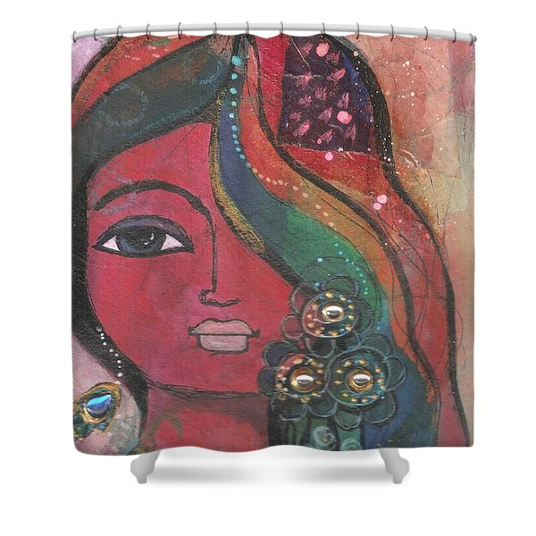 Indian Woman With Flowers  Shower Curtain