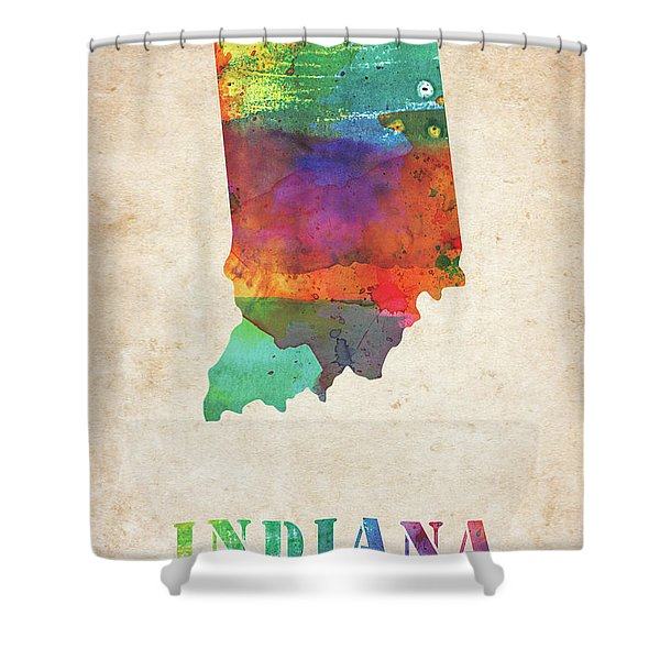 Indiana Colorful Watercolor Map Shower Curtain