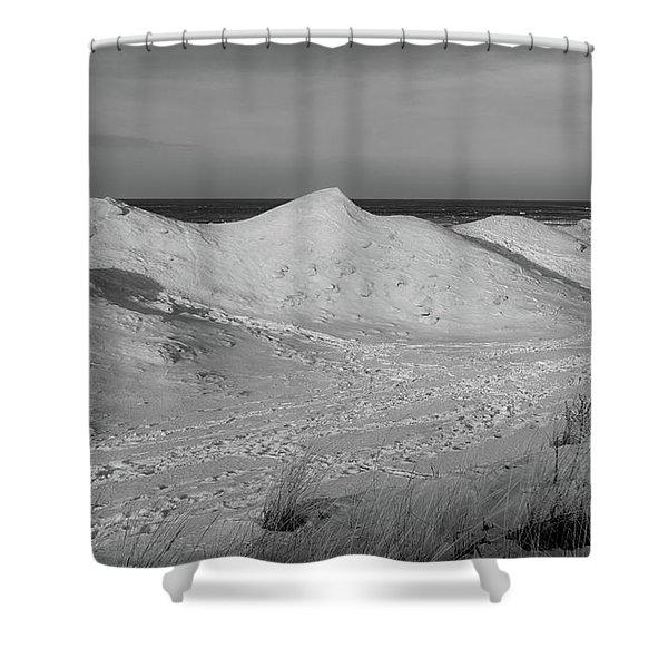 Indiana Dunes Shelf Ice Waves #4 Shower Curtain