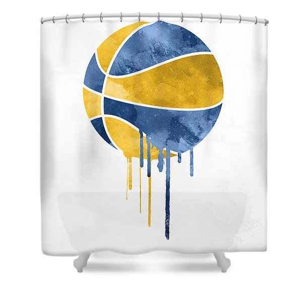 Indiana Pacers Dripping Water Colors Pixel Art Shower Curtain