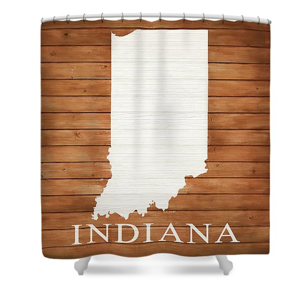 Indiana Rustic Map On Wood Shower Curtain