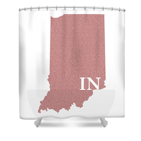 Indiana State Map With Text Of Constitution Shower Curtain