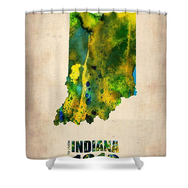 Indiana Watercolor Map Shower Curtain