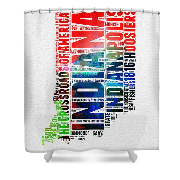 Indiana Watercolor Word Cloud Map  Shower Curtain