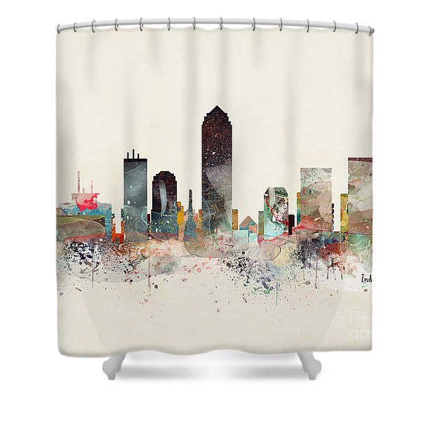 Indianapolis City Skyline Shower Curtain