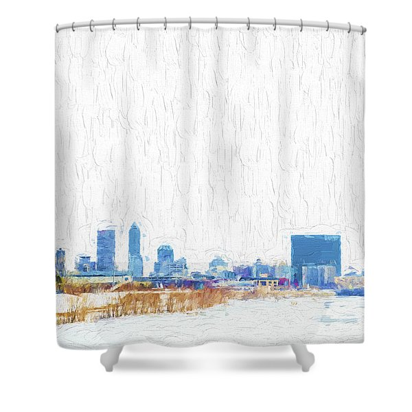 Indianapolis Indiana Skyline Creative Blue Shower Curtain