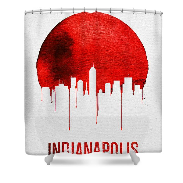 Indianapolis Skyline Red Shower Curtain
