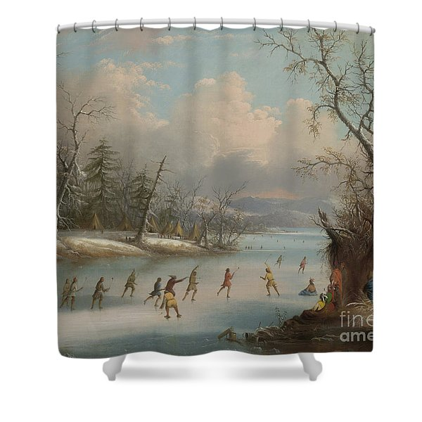 Indians Playing Lacrosse On The Ice, 1859 Shower Curtain