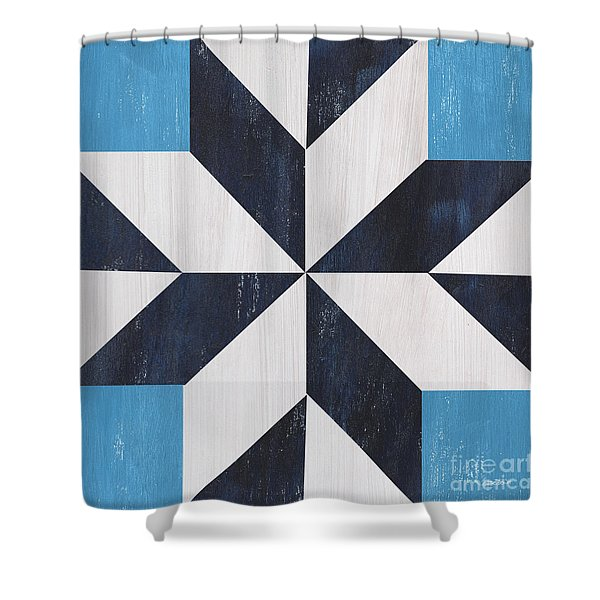 Indigo And Blue Quilt Shower Curtain