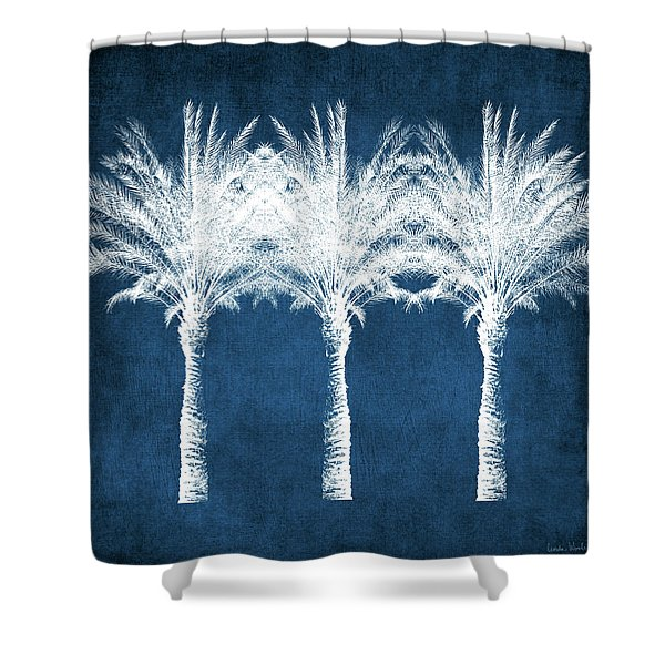 Indigo And White Palm Trees- Art By Linda Woods Shower Curtain