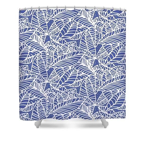 Indigo Batik Leaves Medium Shower Curtain