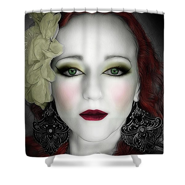 Indigo Heather Portrait  Shower Curtain