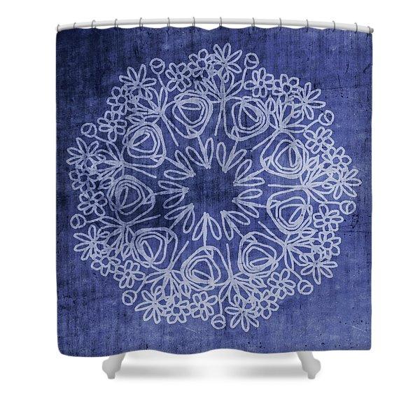 Indigo Mandala 1- Art By Linda Woods Shower Curtain