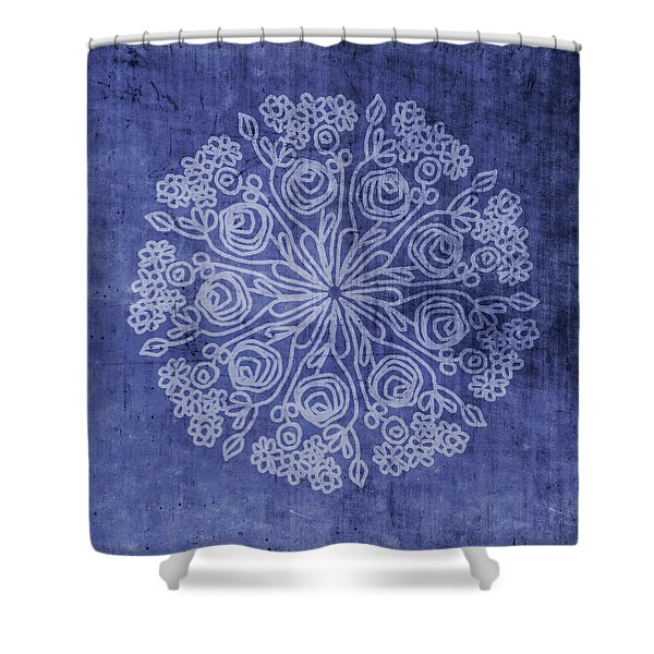 Indigo Mandala 2- Art By Linda Woods Shower Curtain