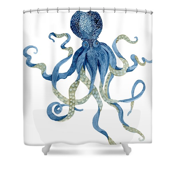 Indigo Ocean Blue Octopus  Shower Curtain