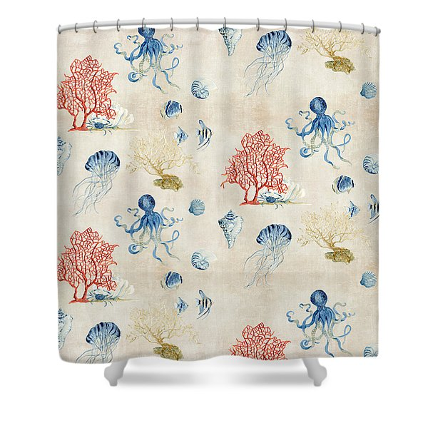 Indigo Ocean - Red Coral Octopus Half Drop Pattern Shower Curtain