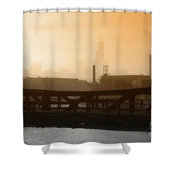 Industrial Foggy Chicago Skyline Shower Curtain
