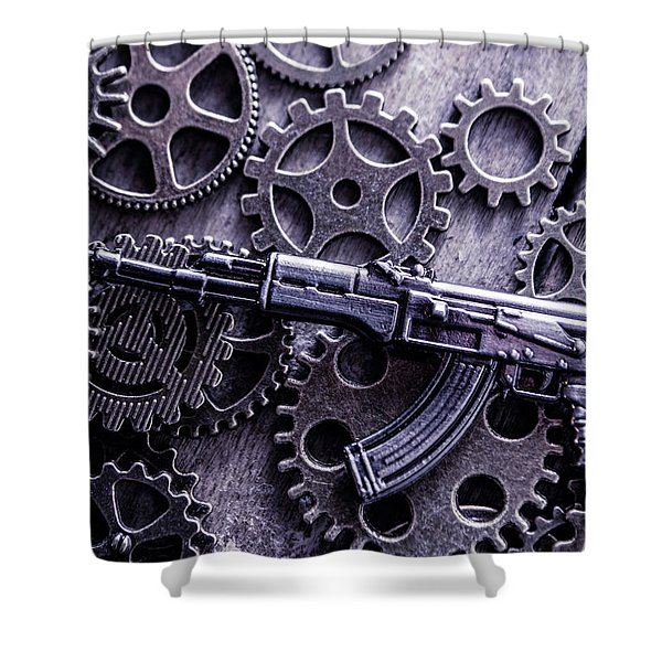 Industrial Firearms  Shower Curtain