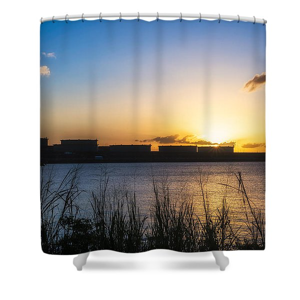 Industrial Sunset Shower Curtain