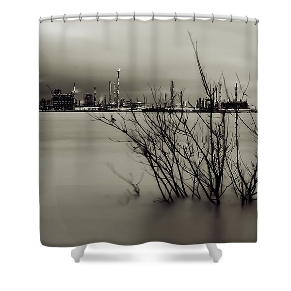 Industry On The Mississippi River, In Monochrome Shower Curtain
