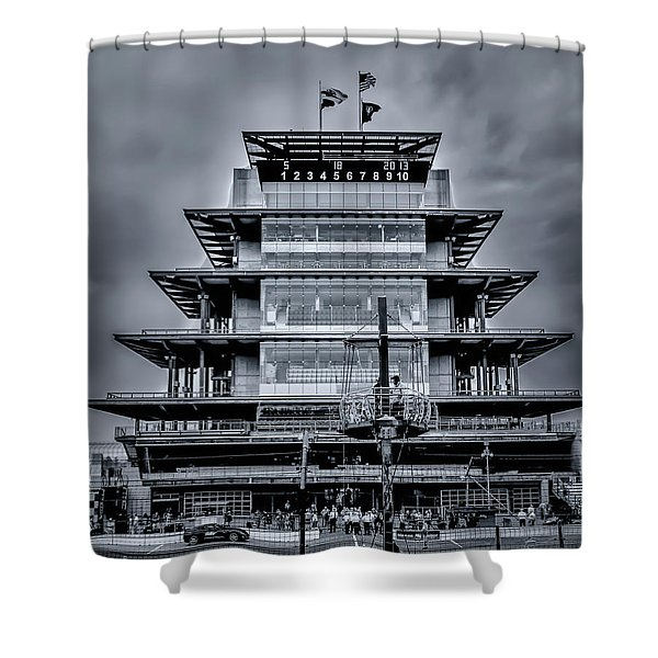 Indy 500 Pagoda - Black And White Shower Curtain