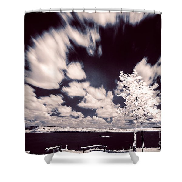 Infrared Lake Shower Curtain