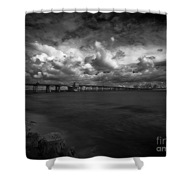 Infrared Longboat Pass Bridge Shower Curtain