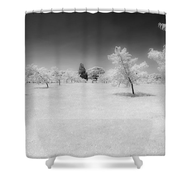 Infrared Peach Orchard Shower Curtain