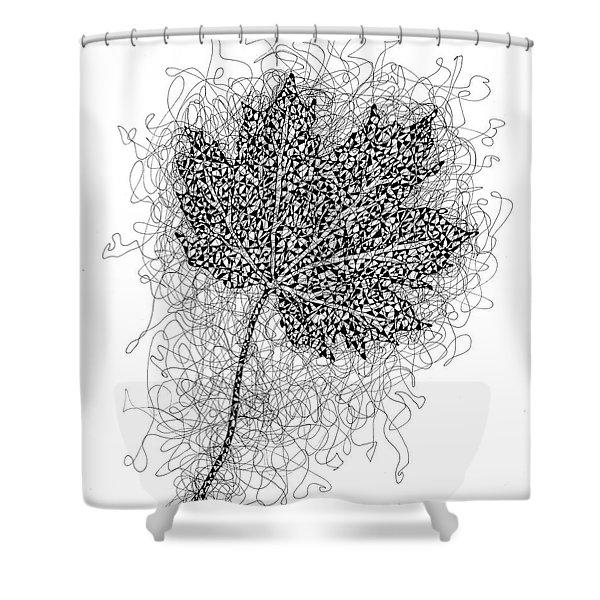 Ink Drawing Of Maple Leaf Shower Curtain