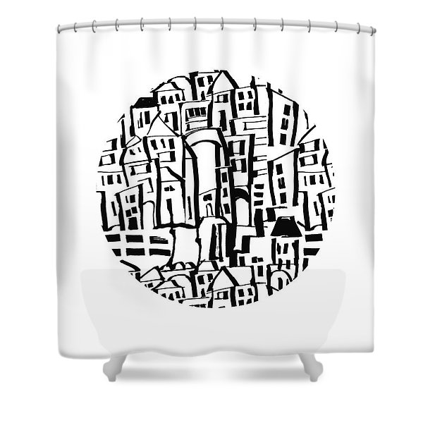 Inky Village Sketch Ball- Art By Linda Woods Shower Curtain