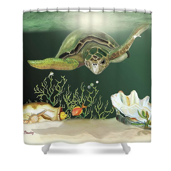 Inquisitive Turtle Shower Curtain