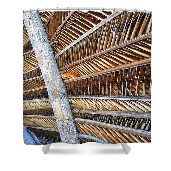 Palm Thatch Detail  Shower Curtain