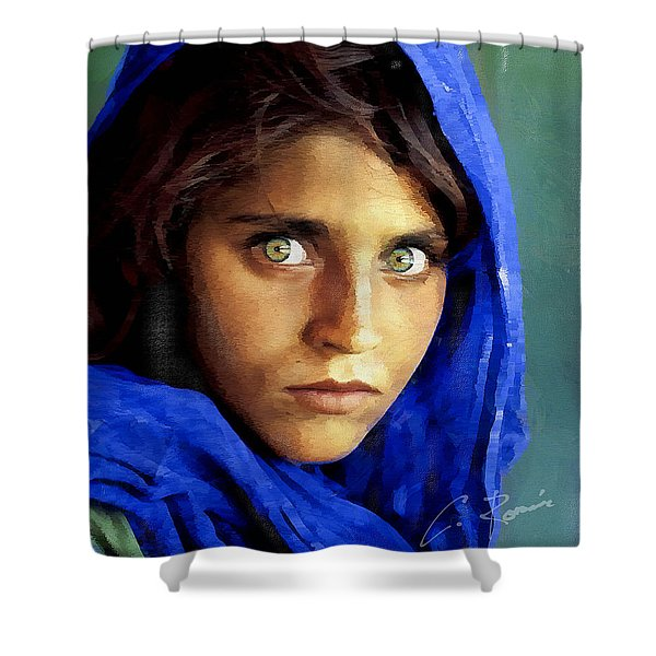 Inspired By Steve Mccurry's Afghan Girl Shower Curtain