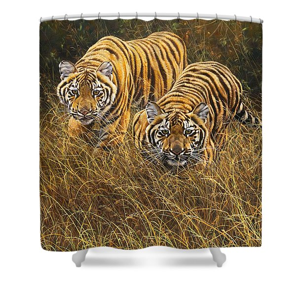 Shower Curtain featuring the painting Intent by Alan M Hunt