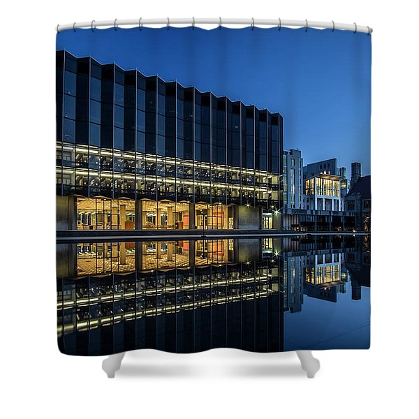 Interesting Architecture At Blue Hour With A Reflection Pool Shower Curtain