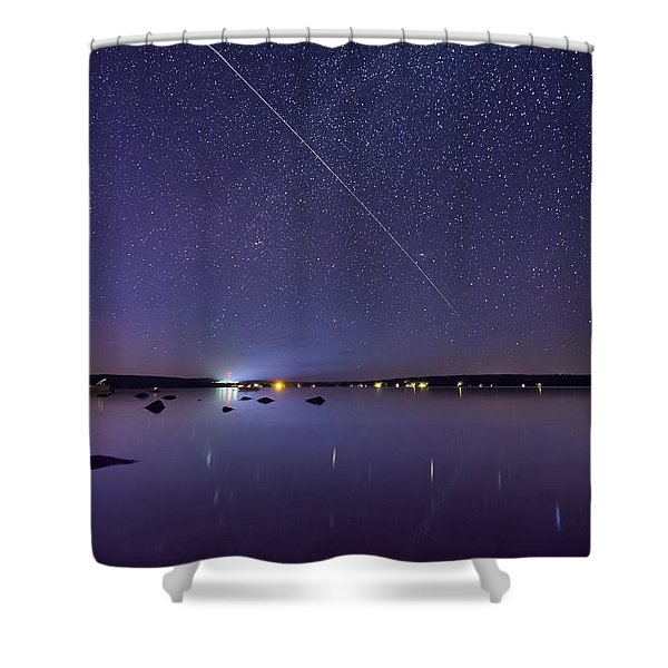 International Space Station Over Branch Lake Shower Curtain