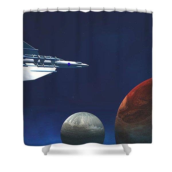 Interplanetary Travel Shower Curtain