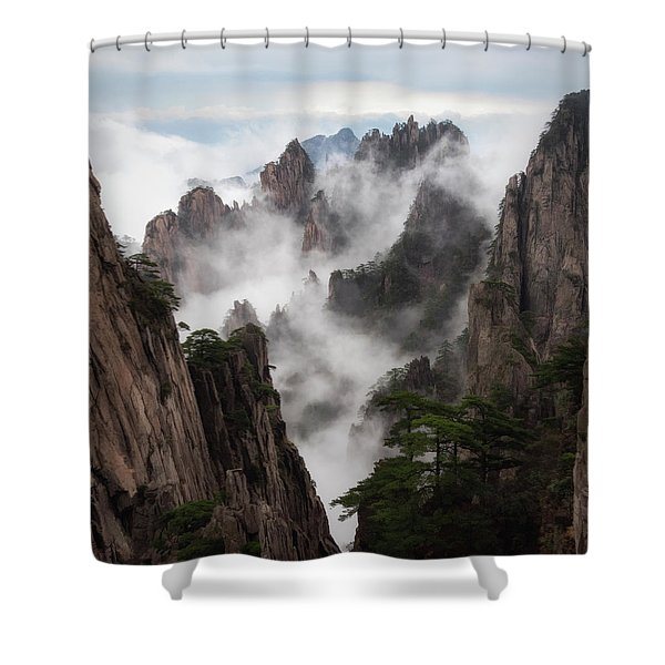 Invisible Hands Painting The Mountains. Shower Curtain