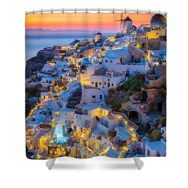 Oia Sunset Shower Curtain