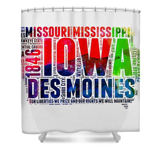 Iowa Watercolor Word Cloud  Shower Curtain