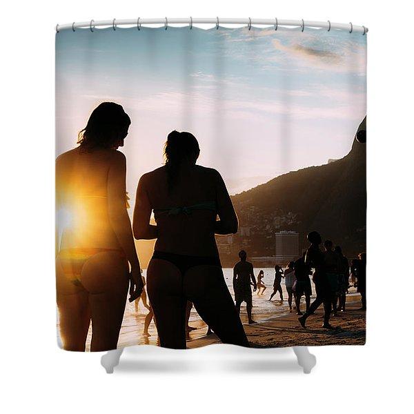 Ipanema, Rio De Janeiro, Brazil At Sunset Shower Curtain