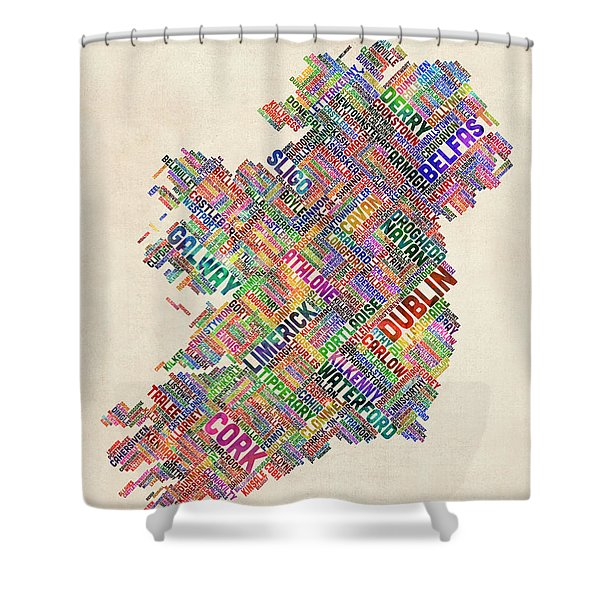Ireland Eire City Text Map Derry Version Shower Curtain